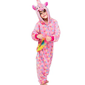 Kids Girls' Pajamas Costumes Holiday Festival Unicorn Animal Cartoon Sleepwear Blushing Pink