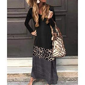 Women's A-Line Dress Maxi long Dress - Long Sleeve Color Block Patchwork V Neck Plus Size Black Green Gray S M L XL XXL 3XL 4XL 5XL