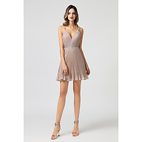A-Line Hot Pink Homecoming Cocktail Party Dress Spaghetti Strap Sleeveless Short / Mini Spandex with Criss Cross Beading 2020