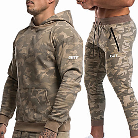 Men's 2-Piece Tracksuit Sweatsuit Jogging Suit Casual Long Sleeve Breathable Soft Fitness Running Jogging Sportswear Skinny Outfit Set Clothing Suit Hoodie Yel