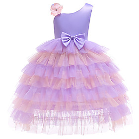 Kids Girls' Active Cute Floral Geometric Patchwork Lace Bow Sleeveless Knee-length Dress Purple