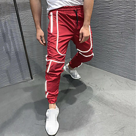Men's Joggers Jogger Pants Track Pants Street Bottoms Reflective Strip Drawstring Fitness Gym Workout Running Active Training Basketball Shoes Jogging Reflecti