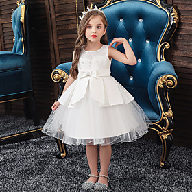 Kids Toddler Girls' Sweet Solid Colored Beaded Lace Trims Sleeveless Knee-length Dress White