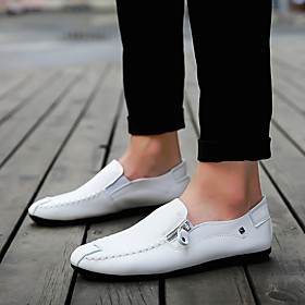 Men's Loafers  Slip-Ons Classic / Preppy Daily Outdoor Walking Shoes Leather Breathable Wear Proof White / Black / Orange Spring  Summer / Fall  Winter