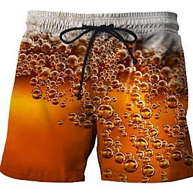 Men's Yellow Orange Green Bottoms Swimwear Swimsuit - Geometric XL XXL XXXL Yellow