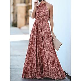 Women's A-Line Dress Maxi long Dress - Sleeveless Floral Spring Summer Halter Neck Maxi Dress Boho Beach Red S M L XL
