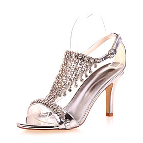 Women's Wedding Shoes Stiletto Heel Open Toe Rhinestone Patent Leather Classic Spring  Summer Gold / Blue / Silver / Party  Evening