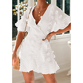 Women's A-Line Dress Half Sleeve Solid Color V Neck White Beige S M L XL