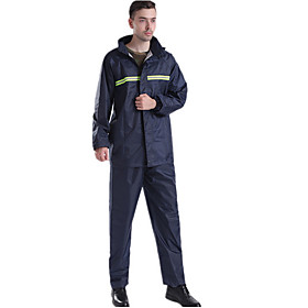 Protective Clothing Anti Dust And Droplet Men's Fall  Winter Suit, Solid Colored Stand Long Sleeve Polyester Navy Blue