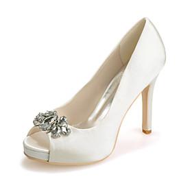 Women's Wedding Shoes Stiletto Heel Peep Toe Rhinestone Satin Sweet Spring  Summer White / Purple / Red / Party  Evening