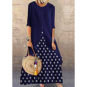 Women's A-Line Dress Maxi long Dress - Half Sleeve Polka Dot Polka Dots Spring Summer Classic  Timeless Cotton Loose 2020 Black Red Blushing Pink Navy Blue M L