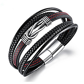 Men's Chain Bracelet Braided Fashion Fashion Leather Bracelet Jewelry Silver For Party Evening Gift Festival / Titanium Steel