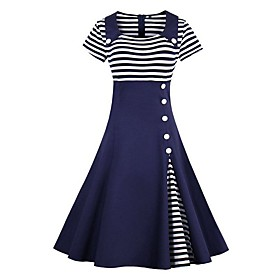 Women's A Line Dress - 3/4 Length Sleeve Striped Patchwork Spring  Summer Peter Pan Collar Elegant Sophisticated Dress 2020 Wine Black Navy Blue S M L XL XXL X