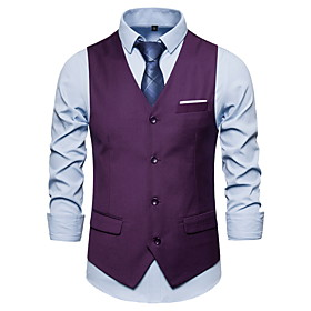 Men's V Neck Vest Solid Colored Black / Purple / Wine US32 / UK32 / EU40 / US34 / UK34 / EU42 / US36 / UK36 / EU44 / Slim