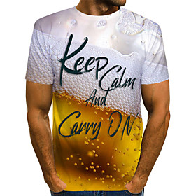Men's Daily Weekend Basic T-shirt - Color Block / 3D / Letter Yellow Keep Calm and Carry on