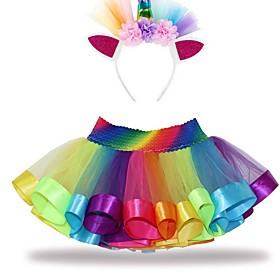 Layered ballet tulle rainbow ballet tutu, suitable for little girls, with colorful hair band