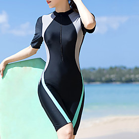 Women's Rash Guard Dive Skin Suit Bodysuit Thermal / Warm UV Sun Protection Breathable Half Sleeve Front Zip - Swimming Diving Water Sports Patchwork Autumn /