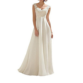 A-Line Wedding Dresses V Neck Floor Length Chiffon Sleeveless Beach with Lace Insert Embroidery 2020