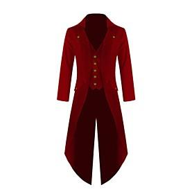 Men's V Neck Coat Long Solid Colored Party Punk  Gothic Plus Size Long Sleeve Black Purple Red US34 / UK34 / EU42 US36 / UK36 / EU44 US38 / UK38 / EU46
