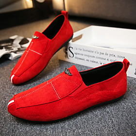 Men's Loafers  Slip-Ons Casual Office  Career Walking Shoes Suede Breathable Non-slipping Wear Proof Black / Red / Gray Spring  Summer