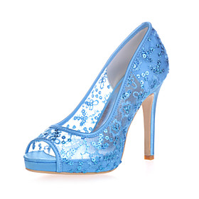 Women's Wedding Shoes Mesh Stiletto Heel Peep Toe Lace Sweet Spring  Summer Red / Pink / Gold / Party  Evening