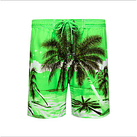 Beach Board Shorts Men's Basic Light Blue Blue Green Swim Trunk Bottoms Swimwear Swimsuit - Geometric Print S M L Light Blue