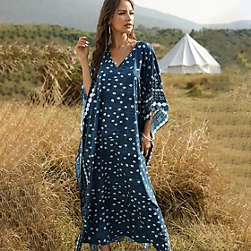 Women's Loose Half Sleeve Print V Neck vacation dresses Loose Blue One-Size / Maxi Fabric:Polyester; Sleeve Length:Half Sleeve; Dress Length:Maxi; Look After Me:Machine wash; Gender:Women's; Style:Hot; Occasion:vacation dresses; Fit Type:Loose; Dresses Type:Loose; Pattern:Print; Neckline:V Neck; Front page:FF; Listing Date:03/17/2020; Bust:; Length:; Waist:; Fit US Size:; Fit UK Size:; Fit EU Size: