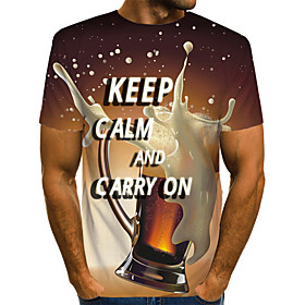 Men's Daily Weekend Basic T-shirt - Color Block / 3D / Letter YellowKeep Clam And Carry On Keep Calm and Carry on