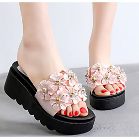 Women's Sandals Creepers Round Toe PU Summer Pink / White / Black