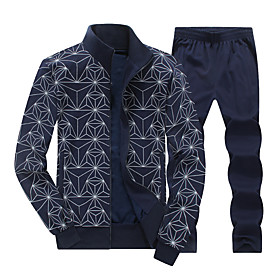 Men's 2-Piece Full Zip Tracksuit Sweatsuit Jogging Suit Casual Long Sleeve Cotton Thermal / Warm Breathable Soft Fitness Running Jogging Sportswear Outfit Set