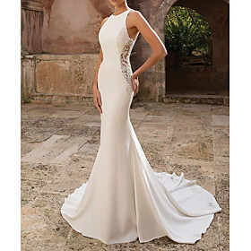 Mermaid / Trumpet Wedding Dresses Jewel Neck Floor Length Polyester Sleeveless Country Illusion Detail with Draping Appliques 2020