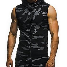 Men's Hoodie Camo / Camouflage Hooded Casual Hoodies Sweatshirts  Light gray Dark Gray Navy Blue