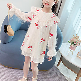 Kids Girls' Cute Cherry Jacquard Solid Colored Ruched Patchwork Long Sleeve Above Knee Dress Blushing Pink