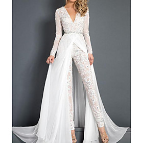 Jumpsuits Wedding Dresses Plunging Neck Sweep / Brush Train Polyester Long Sleeve Country Plus Size with Sashes / Ribbons Lace Insert Appliques 2020