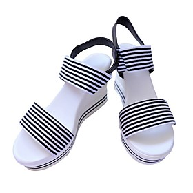 Women's Sandals Wedge Sandals Summer Wedge Heel Round Toe Daily Elastic Fabric Black / Blue