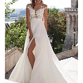 A-Line Wedding Dresses Jewel Neck Sweep / Brush Train Lace Stretch Satin Cap Sleeve Casual Beach Boho Plus Size with Draping Appliques 2020