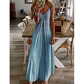 Women's Strap Dress Maxi long Dress - Sleeveless Color Block Spring  Summer Deep V Plus Size Classic  Timeless Slim 2020 Yellow Blushing Pink Gray Light Blue S