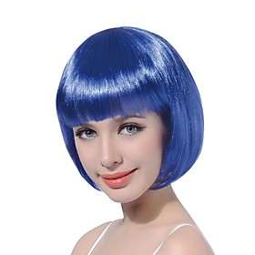Synthetic Wig Straight Straight Bob Wig Blue Synthetic Hair Women's Blue