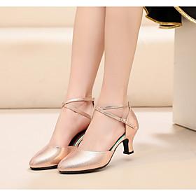 Women's Modern Shoes Heel Cuban Heel Synthetics Buckle Black / Red / khaki / Performance / Practice