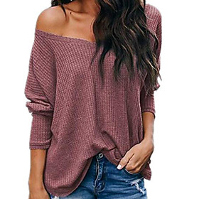 Women's T-shirt Solid Colored Plain Long Sleeve V Neck Tops Loose Cotton Basic Top White Black Red