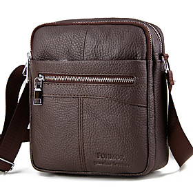 Men's Bags Cowhide Crossbody Bag Zipper Solid Color for Daily / Outdoor Black / Brown / Fall  Winter