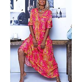 Women's Maxi A Line Dress - 3/4 Length Sleeve Print Floral Spring Summer V Neck Boho Maxi Dress Loose Blue Red Fuchsia M L XL XXL XXXL