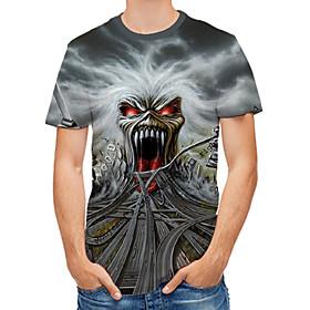 Men's 3D Graphic Print T-shirt Round Neck Gray / Skull