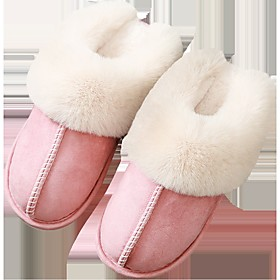 Women's Slippers  Flip-Flops Comfort Shoes Fuzzy Slippers Fall / Winter Flat Heel Round Toe Casual Daily Pom-pom Solid Colored Cotton Over The Knee Boots Walki