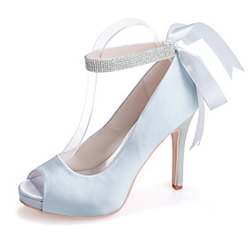 Women's Wedding Shoes Stiletto Heel Peep Toe Sparkling Glitter / Ribbon Tie Satin Minimalism Spring  Summer White / Purple / Red / Party  Evening