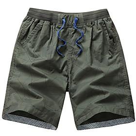 Men's Basic Shorts Bermuda shorts Pants Geometric Pattern Yellow Army Green Khaki US40 / UK40 / EU48 US42 / UK42 / EU50 US44 / UK44 / EU52