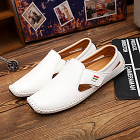 Men's Loafers  Slip-Ons Business / Casual / British Party  Evening Office  Career Walking Shoes Cowhide Breathable Non-slipping White / Black / Blue Summer / F