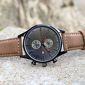 Men's Dress Watch Quartz Stylish Leather Brown 30 m Casual Watch Analog Casual Fashion - White Red One Year Battery Life