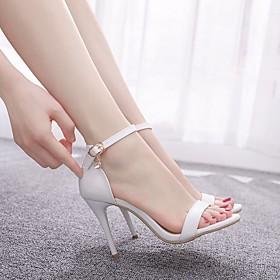 Women's Wedding Shoes Stiletto Heel Peep Toe Sweet Minimalism Wedding Daily Buckle Solid Colored Crocodile White