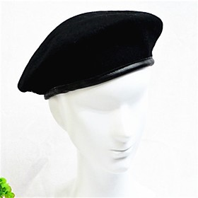 Men's Women's Party Active Cute Wool Beret Hat-Solid Colored All Seasons Black Army Green Red